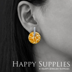 Yellow Pattern Enamel Handmade Earrings Dangle Round Earrings EB03