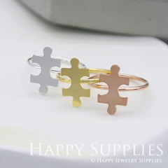 2Pcs Puzzle Rose Gold Silver Golden Brass Ring RB008