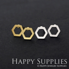 1pair Hexagon Golden Silver Rose Golden Brass Earring Post Finding With Ear Studs Back Stoppers ZEN120