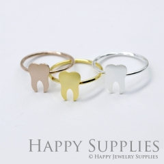 2Pcs Tooth Rose Gold Silver Golden Brass Ring RB007