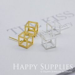2pcs 3D Geometric Square Cube 24K Golden 925 Silver Plated Brass Earring Post Finding EE3D01