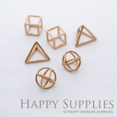 5pcs 3D Geometric Circle Triangle Square Cube Rose Gold Pendant 3D04-RG