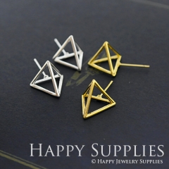 2pcs 3D Geometric Triangle Cube 24K Golden 925 Silver Plated Brass Earring Post Finding EE3D02