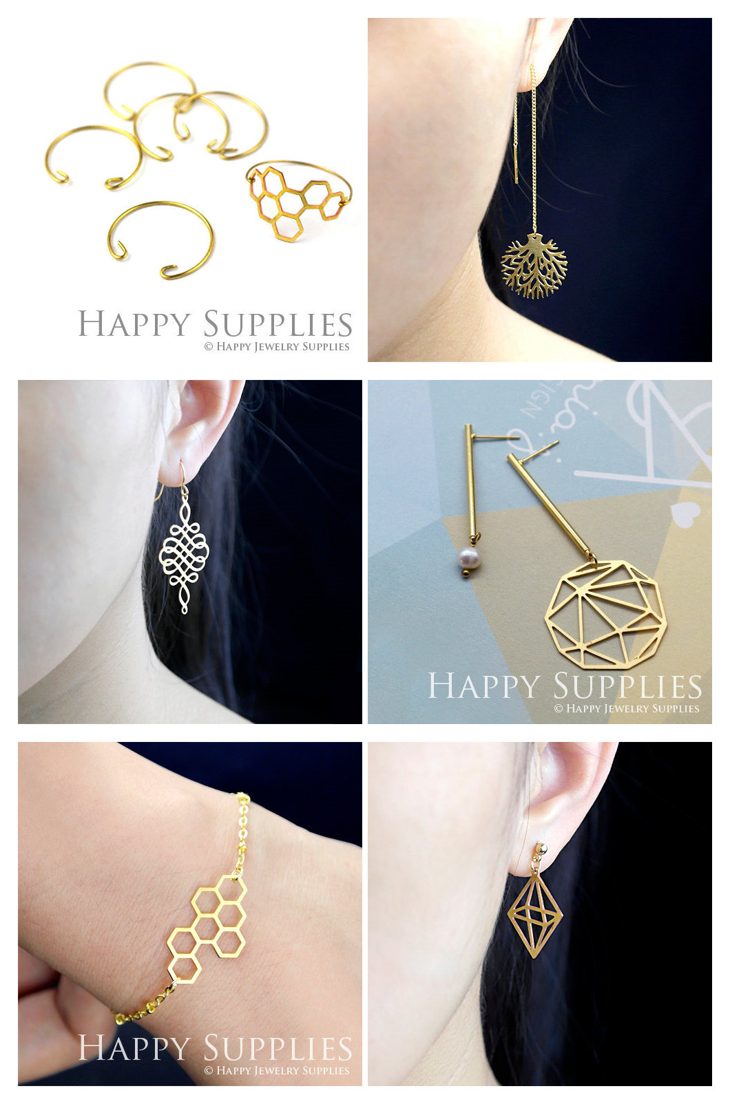 Personalized Laser Cut Brass Jewelry Findings for jewelry making supplies - Happy Jewelry Supplies