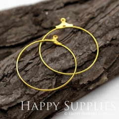 10pcs 30mm Round Raw Brass Hoop Earrings HE160