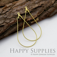 10pcs 46X23mm Teardrop Raw Brass Hoop Earrings HE161