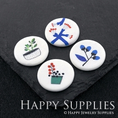 2pcs 25mm Round Flower Handmade Photo Ceramic Porcelain Charms CPA37-40