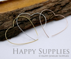 20pcs 43mm Heart Rose Gold Silver Golden Plated Brass Hoop Earrings HE158