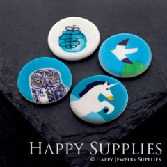 2pcs 25mm Round Owl Swallow Horse Pattern Handmade Photo Ceramic Porcelain Charms CPA05-08