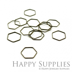 20pcs 16mm High Quality Antiqued Vintage Bronze Hexagon Charms / Pendants Connector(06983)