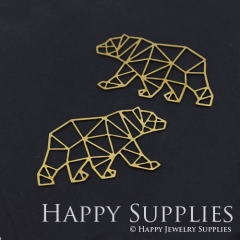 4pcs Raw Brass Bear Charm Pendant Fit For Necklace Earring Brooch RD295