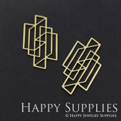 4pcs Raw Brass Geometry Charm Pendant Fit For Necklace Earring Brooch RD309