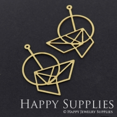 4pcs Raw Brass Geometry Charm Pendant Fit For Necklace Earring Brooch RD300