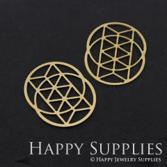 6pcs Raw Brass Round Geometry Charm Pendant Fit For Necklace Earring Brooch RD294