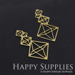4pcs Raw Brass Diamond Geometry Charm Pendant Fit For Necklace Earring Brooch RD291