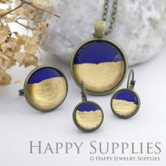 Handmade Dark Blue + Golden Foil Glass Cabochon (FG014-G)