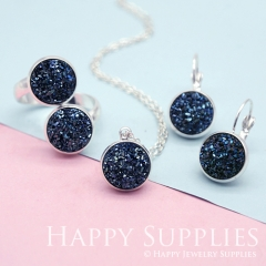 10pcs Deep Blue 12mm Faux Druzy Crystal Cabochons (FDC09)