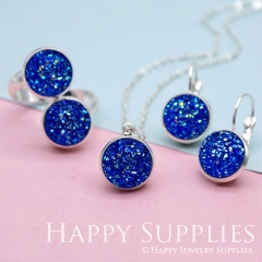 10pcs Blue 12mm Faux Druzy Crystal Cabochons (FDC15)