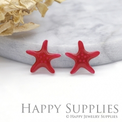 4pcs (2 Pairs) Laser Cut Mini Acrylic Resin Starfish Laser Cut Jewelry Pendant Charm (AR018)