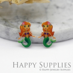4pcs (2 Pairs) Laser Cut Mini Acrylic Resin Mermaid Laser Cut Jewelry Pendant Charm (AR015)