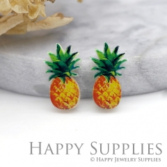 4pcs (2 Pairs) Laser Cut Mini Acrylic Resin Pineapple Laser Cut Jewelry Pendant Charm (AR021)