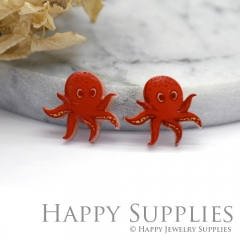 4pcs (2 Pairs) Laser Cut Mini Acrylic Resin Octopus Laser Cut Jewelry Pendant Charm (AR033)