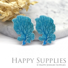 4pcs (2 Pairs) Laser Cut Medium Acrylic Resin Seaweed Laser Cut Jewelry Pendant Charm (AR008)