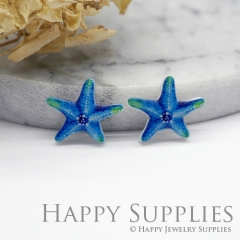 4pcs (2 Pairs) Laser Cut Mini Acrylic Resin Starfish Laser Cut Jewelry Pendant Charm (AR028)
