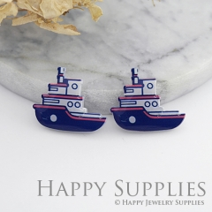 4pcs (2 Pairs) Laser Cut Medium Acrylic Resin Ship Laser Cut Jewelry Pendant Charm (AR014)