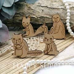 2Pcs Handmade Lovely Animal Wooden Charms Pendants LC053