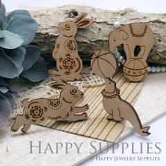 2Pcs Handmade Lovely Animal Wooden Charms Pendants LC052