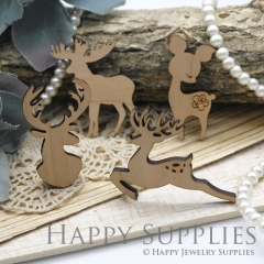 2Pcs Large Handmade Lovely Christmas Deer Charms Pendants LC056