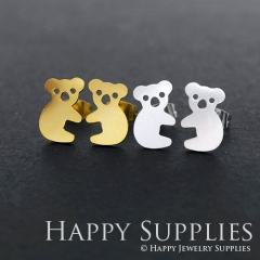 1pair Koala Golden Silver Rose Golden Brass Earring Post Finding With Ear Studs Back Stoppers ZEN125