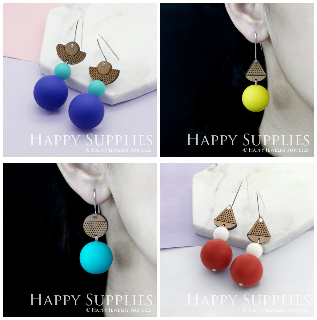 Silicone Balls Laser Cut Geometric Wooden Dangle Earrings for jewelry making supplies - Happy Jewelry Supplies