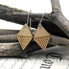 2pcs Laser Cut Wooden Dangle Earrings - HEW Series (HEW13)