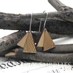 2pcs Laser Cut Wooden Dangle Earrings - HEW Series (HEW06)