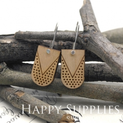 2pcs Laser Cut Wooden Dangle Earrings - HEW Series (HEW04)