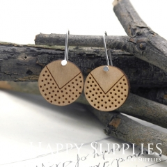 2pcs Laser Cut Wooden Dangle Earrings - HEW Series (HEW02)