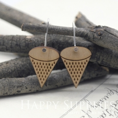 2pcs Laser Cut Wooden Dangle Earrings - HEW Series (HEW10)