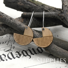 2pcs Laser Cut Wooden Dangle Earrings - HEW Series (HEW07)