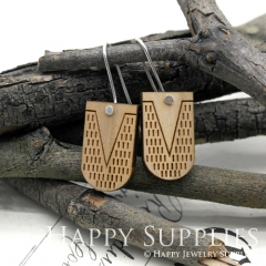 2pcs Laser Cut Wooden Dangle Earrings - HEW Series (HEW03)