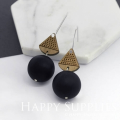 1 Pair Silicone Balls Laser Cut Geometric Wooden Dangle Earrings SBW27