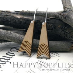 2pcs Laser Cut Wooden Dangle Earrings - HEW Series (HEW19)