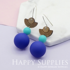 1 Pair Silicone Balls Laser Cut Geometric Wooden Dangle Earrings SBW03