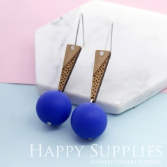 1 Pair Silicone Balls Laser Cut Geometric Wooden Dangle Earrings SBW25