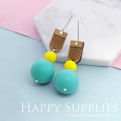 1 Pair Silicone Balls Laser Cut Geometric Wooden Dangle Earrings SBW12