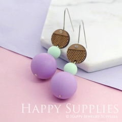 1 Pair Silicone Balls Laser Cut Geometric Wooden Dangle Earrings SBW09