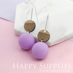 1 Pair Silicone Balls Laser Cut Geometric Wooden Dangle Earrings SBW30