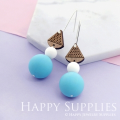 1 Pair Silicone Balls Laser Cut Geometric Wooden Dangle Earrings SBW11
