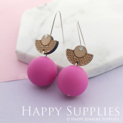 1 Pair Silicone Balls Laser Cut Geometric Wooden Dangle Earrings SBW22